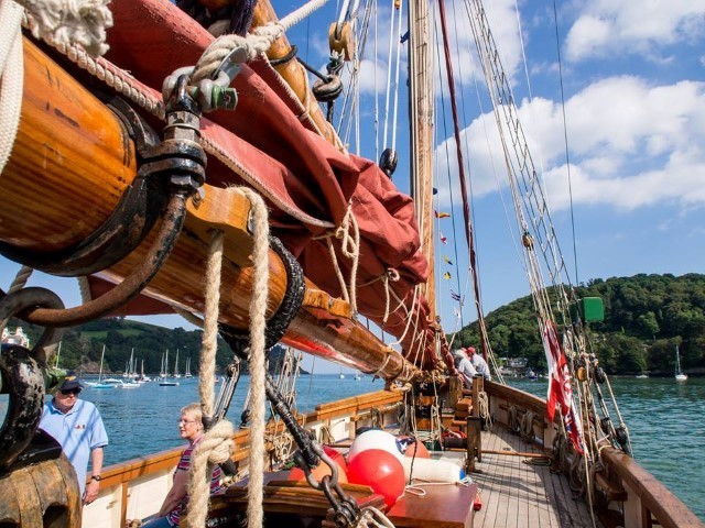 Pilgrim of Brixham sailing towards Dartmouth