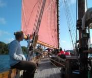 Enjoying some Classic Sailing on deck Pilgrim of Brixham Devon