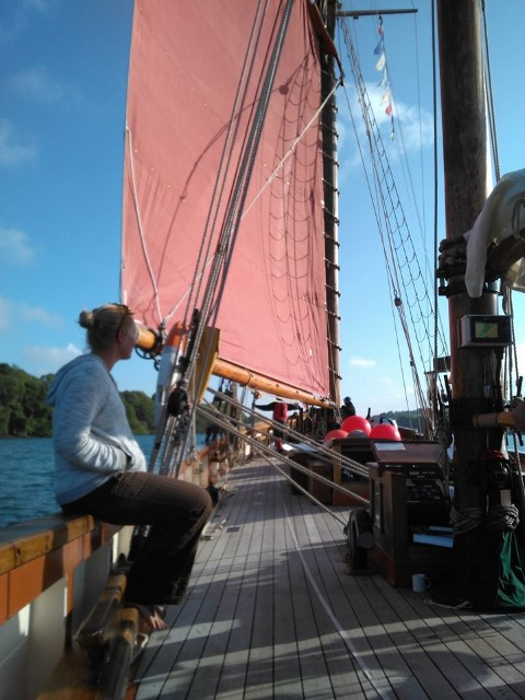 Enjoying some Classic Sailing on deck Pilgrim of Brixham Devon