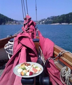 Sail Bed and Breakfast Enjoying Lunch Sailing into Dartmouth Devon onboard Pilgrim BM45