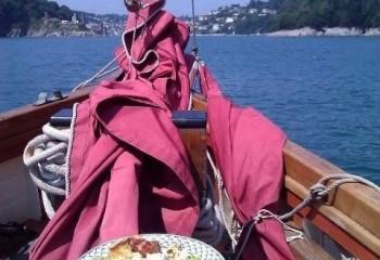Sail Bed and Breakfast Enjoying Lunch Sailing into Dartmouth Devon onboard Pilgrim BM45
