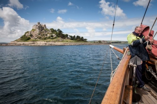 Pilgrim off St Michaels Mount Cornwall