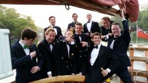 The groomsmen at a Pilgrim Wedding Reception