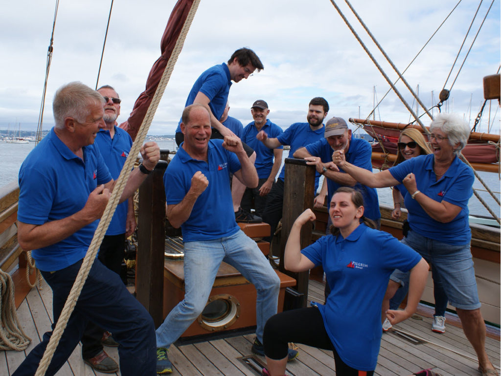 Pilgrim's Regatta crew limbering up